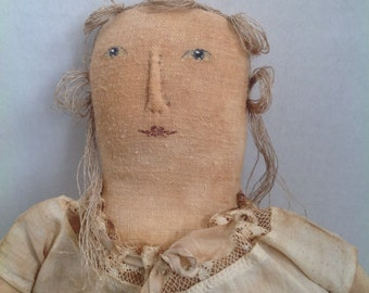 Hand Made Doll Wearing Vintage Clothes Folk Art