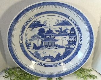 Huge Blue and White Canton Reproduction Bowl  Vintage