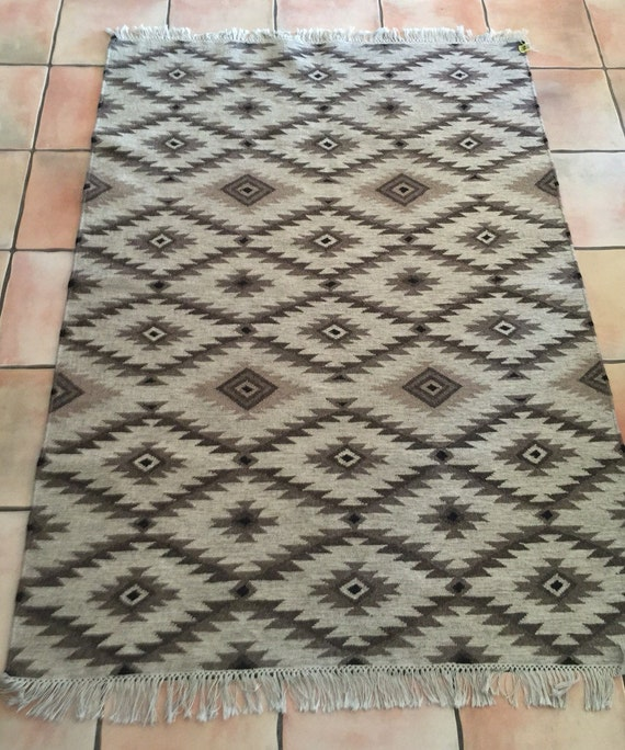 Mexican Zapotec Rug Vintage Wool Woven Rug By Happilybecoming