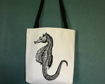 Large Beach Tote Bags with Seahorse Design, Designer Beach Bag, Beach Tote Bags, Beach Decor