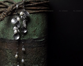 Freshwater pearls earrings Swarovski crystal Sterling silver Oxidized Handmade Long earrings