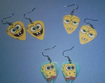 Spongebob Squarepants Guitar Pick Earrings