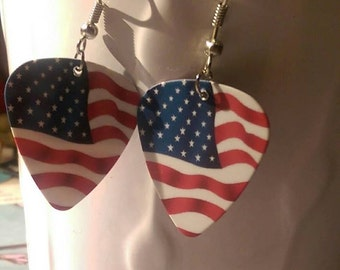 American Flag Guitar Pick Earrings