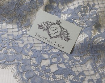 light Blue with gray shade lace fabric, French Lace, blue chantilly lace, Wedding Lace, blue Lace, Lingerie Lace, Chantilly Lace   K00486