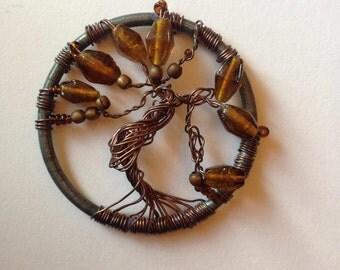 Copper tree of life pendant