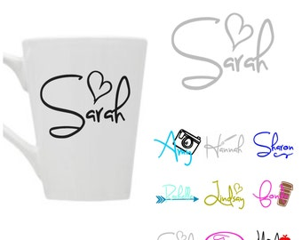 Any word or NAME vinyl decal sticker for Coffee mug/Cup with name, monogram/ name Yeti cup vinyl decal, laptop/Mac decal, car window decal
