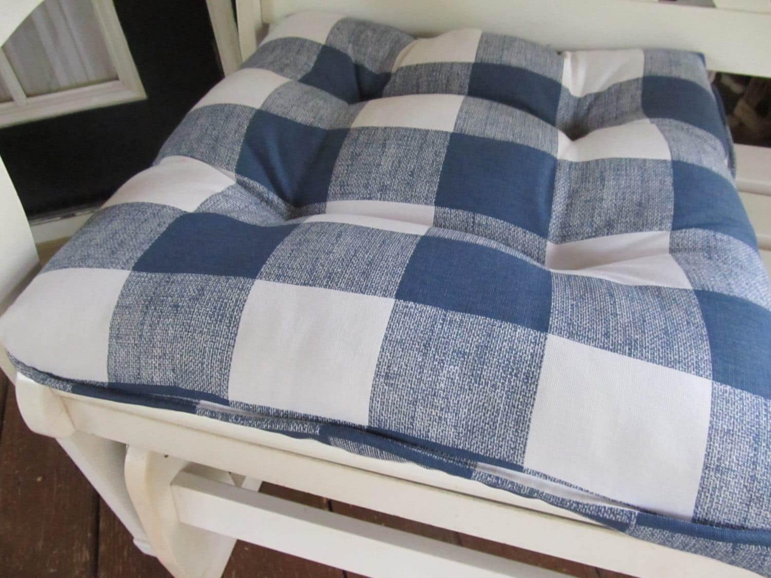 country chair cushion in navy blue and white by cottageaccent
