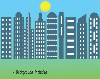 Skyscrapers clipart, Skyscrapers eps, png, Building png, City building, Building overlays, Flat clip art