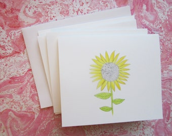 4 Sunflower note cards -- set of note cards -- blank greeting cards -- blank cards