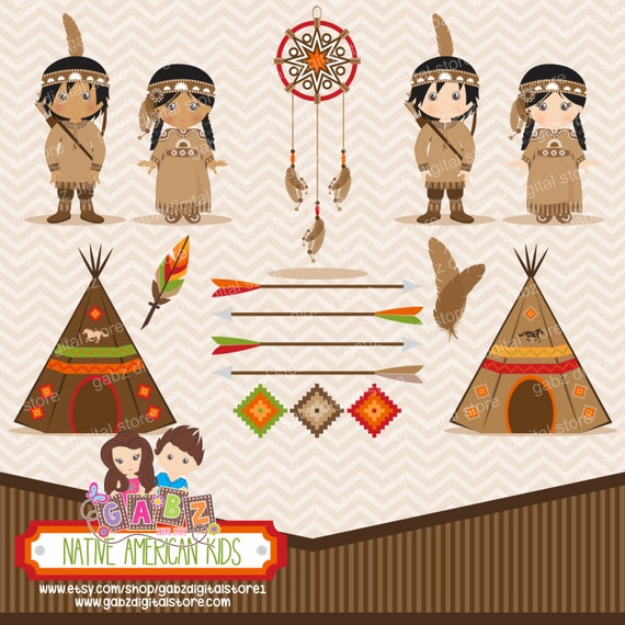 Native American Kids Clipart Decorative