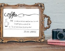 Funny Coffee Dictionary Definition - Hand Lettered Art Print A5
