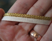 Vintage Gold and White Piping Trim by the Yard, T11
