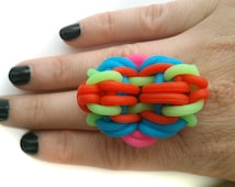 Statement ring, Unique ring, Knitting ring, Big ring, Silicon bracelets ring, Rubber bands ring, Rubber ring, Modern ring, Silicon ring