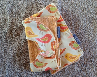 Baby bib and burp cloth set, baby shower, newborn gift, cute, birds, pink, baby girl