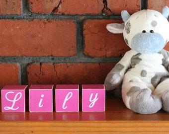 Personalised wooden name blocks, hand painted letter/word blocks, customised, nursery decor, baby gift