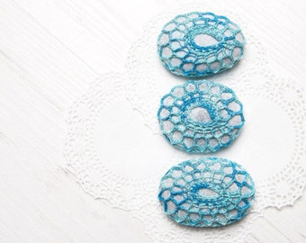 Crochet covered stones  lace stone paperweight  home decor wedding decor blue melange 3 pieces