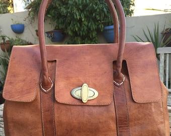 Classic design Moroccan leather handbag
