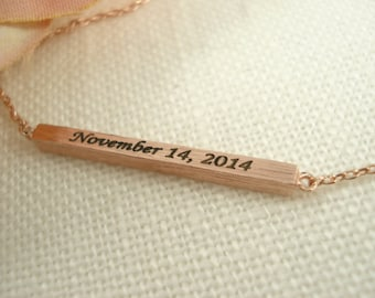 Thin 3D Personalized Gold bar  or Rose Gold necklace...Engraved Bar, sorority, best friend gift, wedding, bridesmaid gift