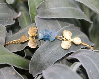 Aqua crystal orchid flower bracelet