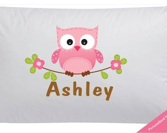 Personalized Pink Owl Pillowcase Owl Pillow Case