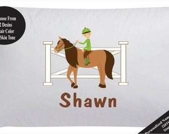 Personalized Horse Pillow Case Pillowcase Boy Horse Pillowcase