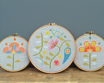 Scandi Flower Trio. PDF Cross stitch charts / pattern - Instant download.