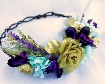 Gold holiday floral crown