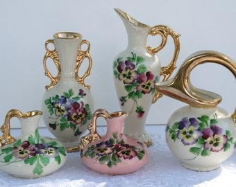 SALE: Vintage pottery vases; La Pere ceramics; pansies; collection of hand painted ceramic pottery; USA pottery; OHIO pottery