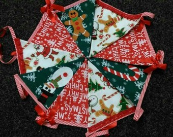 Christmas Santa Gingerbread Man Lined Fabric Bunting