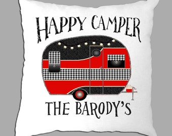 """Happy Camper Black and Red Houndstooth Personalized 14""""x14"""" white pillow cover black lettering"""