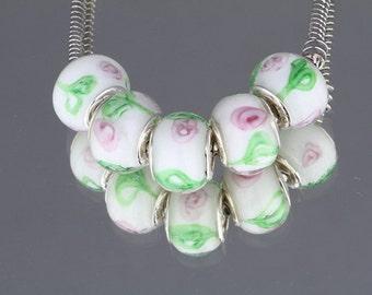 Set of 5 Murano Glass Charm Beads Sterling Silver European Style Bracelet Jewelry DIY (ID EU2-13)