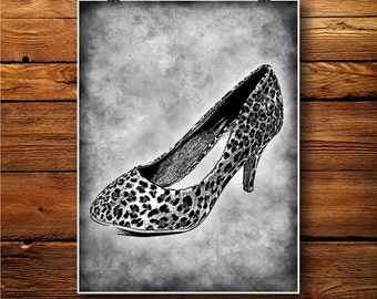 Shoes Print, Heel Decor, Women Art, Boots Illustration BW317