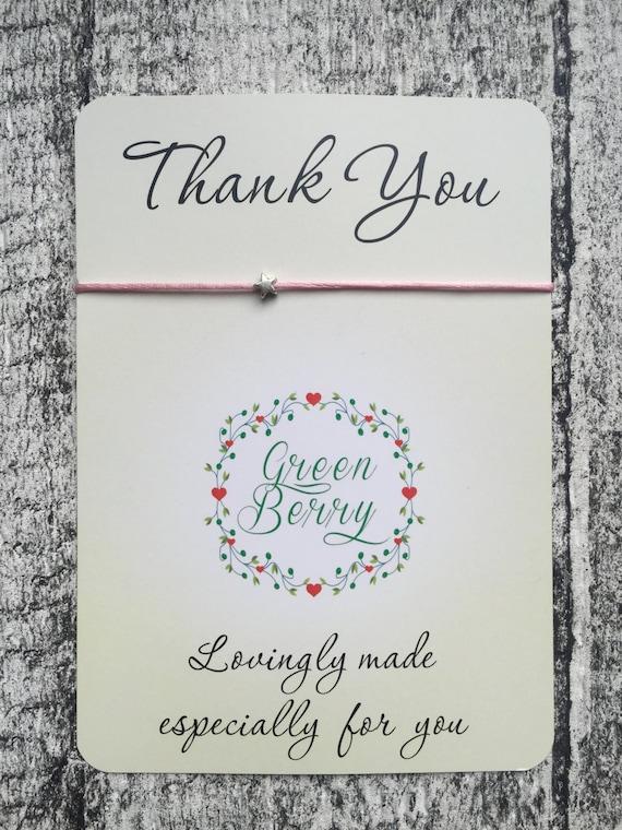 "Tiny Star charm String Bracelet on ""Thank You"" quote card stars thankyou madebygreenberry wish bracelet"
