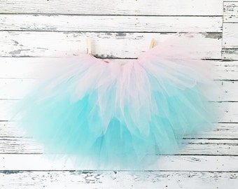 Aqua & Glitter Pink Tulle Tutu Skirt With Bow Tie Back. Flower Girls, Costumes, Photo Props. For Baby, Toddler, Cake Smash First Birthday