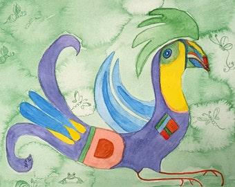 Watercolor Green Toucan Bird
