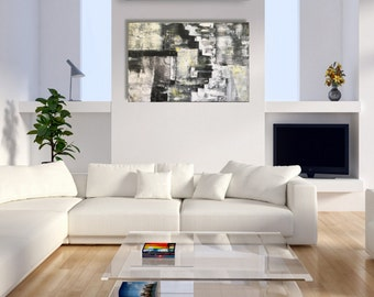 Black and White Abstract Painting Large Textured Art Original Abstract Painting Palette Knife Art Acrylic Paintings on Canvas Buildings Art