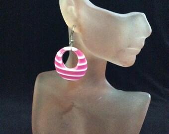 Vintage Pink & White Dangle Earrings