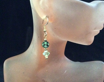 Vintage Green Rhinestone Green Glass Beaded Dangle Earrings