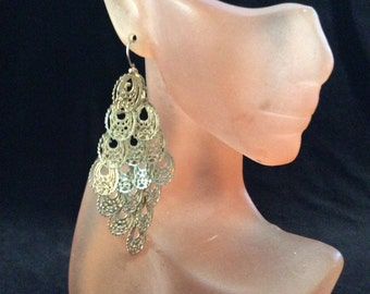 Vintage Long Goldtone Dangle Earrings