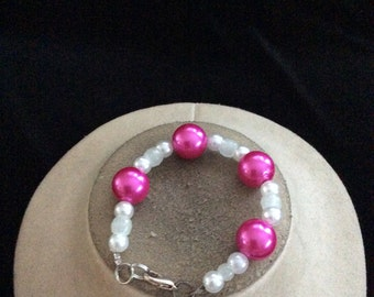 Vintage Chunky Pink Clear & White Beaded Bracelet