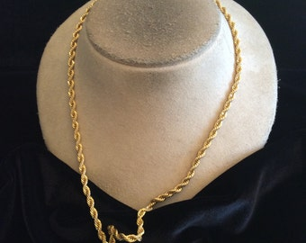 Vintage Long Goldtone Rope Chain Necklace