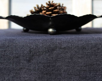 Aged linen tablecloth. Charcoal. Faded color linen/ Denim effect. Hand made by LinenSky.