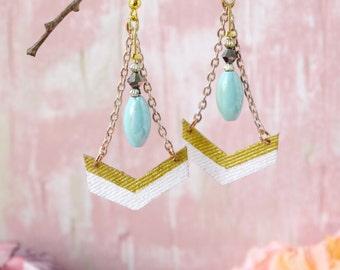 White and gold chevron denim swing earrings -urban chic .JE74-016