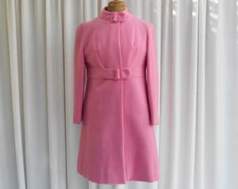 Vintage Mod Wiggle Dress & Coat By Stanley's Creations In Bubble Gum Pink Pure New Wool 1960's  #20034