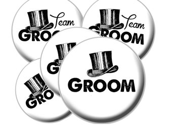 8 Team Groom Buttons - Groom Bachelor Party Buttons - Bachelor Party - Team Groom - Vintage Groom