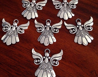 5 Large Angel Charms, Antique Silver Charms, Silver Angel Pendants, Christian Charms, Angel Pendants, Findings, Craft and Jewlry Supplies