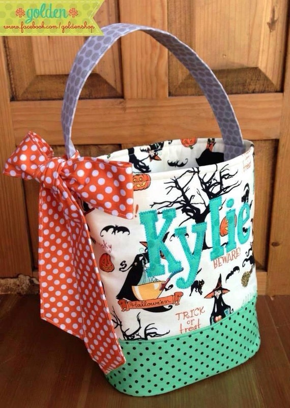 Personalized Halloween Trick or Treat Fabric Bag, Candy Bucket, with Bow