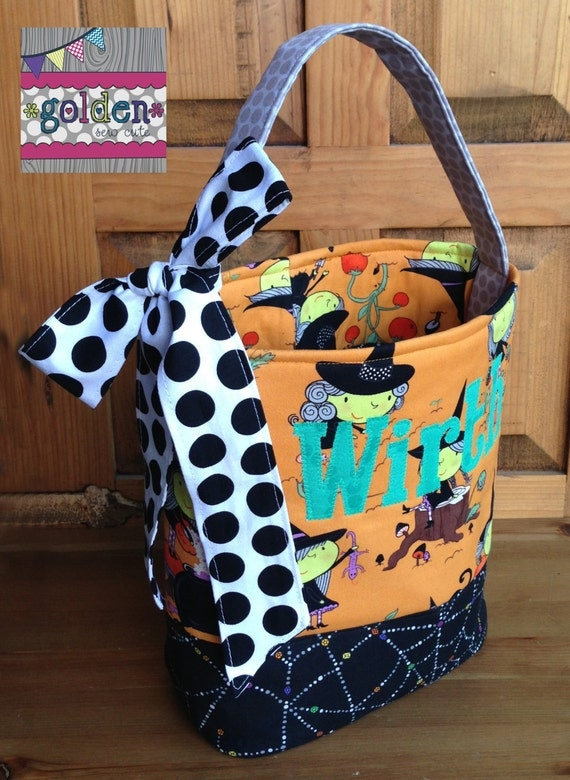 Personalized Halloween Trick or Treat Fabric Bag, Candy Bucket with bow, Witch and Webs