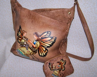 Painted Leather Handbag Butterfly Girl Crossbody Adjustable Pockets Soft OOAK Fairy Woodland Fantasy Handpainted Custom Bags Available Too!