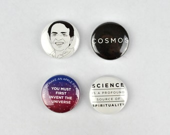 Carl Sagan Badges, buttons, science, cosmos, astronomer, cosmologist, pale blue dot, universe,